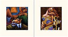 "Markus Pierson ""Art History Coyote Portraits of Klimt and Matisse"" 2 Serigraphs"