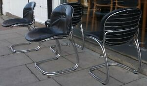 Vintage 1970s Chrome and leather 'Sabrina' Chair by Gastone Rinaldi for Rima