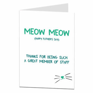 Funny Fathers Day Card From The Cat