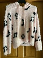 Hot Topic Pink Cropped Fuzzy Musical Note Sweater With Hood Size Plus 2XL
