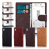 32nd Premium Genuine Leather Wallet Book Case Cover for Sony Xperia Phones