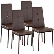 4 Modern dining chairs dining room chair table faux leather furniture cozy brown