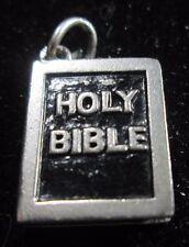 Vintage Sterling Silver Enamel Holy Bible Charm
