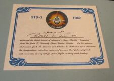 March 22 1982 Space Shuttle Columbia 3rd Mission STS-3 Witness Certificate 8x10