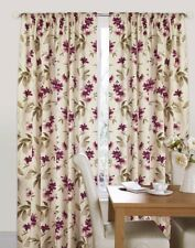 Floral 66 X 90 Tape Top Fully Lined Curtains Luxury Heavy Quality Aubergine