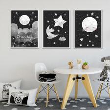Black White Child Poster Moon Star Cartoon Nursery Print Canvas Art Painting