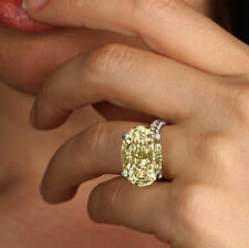 6Ct Oval Cut Yellow Citrine Cocktail Engagement Ring In 14K white Gold Finish