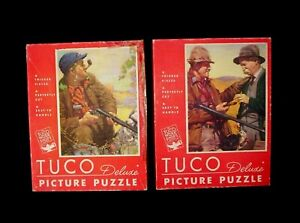 """Vintage 2 TUCO Puzzles Complete KERNAN Hunting Dogs Sporting 16""""x20"""" w/box"""