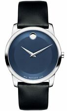 Movado Museum Classic Swiss Blue Dial Silver Black Leather Mens Watch 0606610 S9