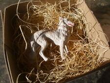 New 3D Dresden Paper Christmas Ornament White Borzoi Dog Standing Decoration