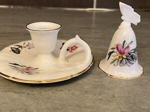 Vintage Royal Worcester China Candlestick & Snuffer, Floral Pattern