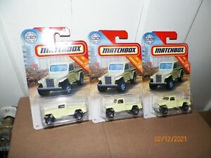 3 2020 MATCHBOX CONSTRUCTION SERIES '51 WILLYS JEEP PICKUP 4x4 Yellow