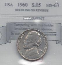 **1960** USA, Five Cent, Jefferson Nickel, Minor Doubling