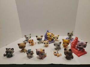 Littlest Pet Shop Cat Lot 16 Pcs Figures Authentic LPS Hasbro Animals