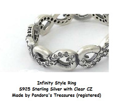 4c8798b1e Infinite Infinity Ring Size 7 US S925 Sterling Silver CZ by Pandora's  Treasures