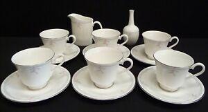 Royal Doulton Carnation 14 Piece Set Cups Saucers Vase Jug
