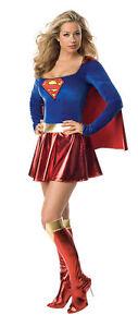 Supergirl Deluxe 1-piece Adult Women Costume Sexy Superhero Heroine Cape Dress