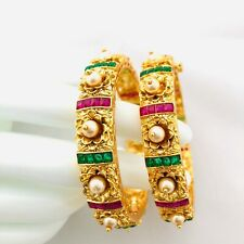 2.6 Kundan Ruby Multicolor Rajwadi Bangle/Traditional Pearl Emerald Stone Bangle