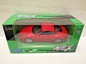 🚓 WELLY NEX CAR Scale Model PORSCHE 911 Carrera S red 1:34 - 1:39