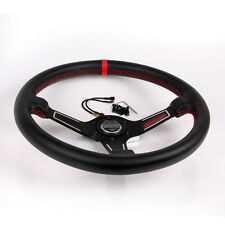 "13.7""/350mm Black Racing Steering Wheel With Horn Button Leather PVC Universal"