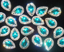 turquoise blue clear Sew On Stitch Jewel 18mm GEM CRYSTAL RHINESTONE trim Bead