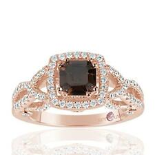 Suzy Levian Rose Sterling Silver Asscher Cut Brown and White Cubic Zirconia Enga