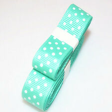 "3yds 5/8""(15 mm) Cyan Christmas Ribbon Printed lovely Dots Grosgrain#"