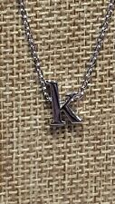 PETITE RHODIUM PLATED LOWER CASE k INITIAL LETTER PENDANT NECKLACE