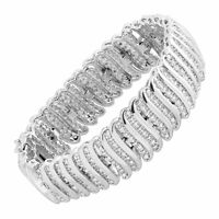 2 ct Diamond 'S' Link Tennis Bracelet in Plated Brass, 7.5""