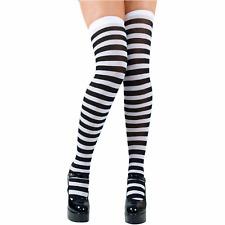 donna Nero e bianco a righe Costume Strega Costume Halloween Calze Donna