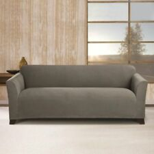 Sure Fit Stretch Morgan Knit Sofa Slipcover in Gray for Box Cushion Style