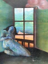 Très Belle Peinture Surréaliste Huile Sur Toile Circa 1960 Femme Assise