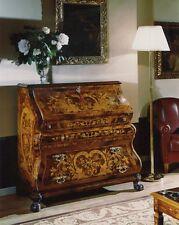 Bureau stile olandese in radica di noce con intarsi 3 cassetti