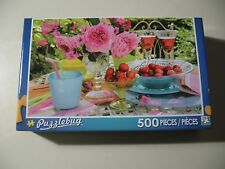 500 pc Puzzle, Puzzlebug: Summer Table w/Cherries & Lemonade, Brand New & Sealed