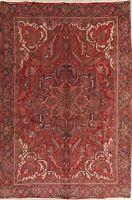 Heriz Wool Area Rug Oriental Hand-Knotted Geometric 7x11 Vintage Carpet