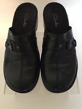 Clarks Womens Clogs Shoes 6M Leather Black Slip On