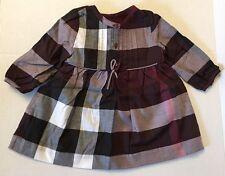Burberry Children Girls Pintuck Check Twill Dress  Beetroot Long Sleeve NWT 12M