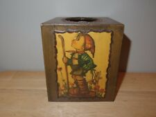 "Vintage Goebel Hummel Handmade Wooden Kleenex Tissue Cover Box Brown 5 5/8"" Tall"