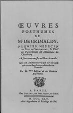 ALCHIMIE ŒUVRES POSTHUMES OU SONT CONTENUS LES MEILLEURS REMEDES. M. DE GRIMALDY