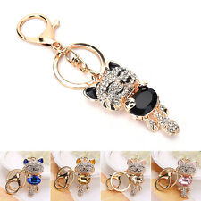 Cute Smile Cats Crystals Rhinestone Keyrings Holder Purse Bag Gifts Keychains