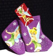 "2 New Disney Tinkerbell 7"" Mini Christmas Stockings - Purple Felt - Ships Free"