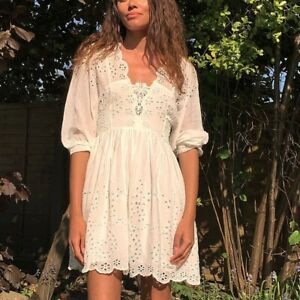 Free People FP One Lottie Mini Dress Smocked Eyelet Embroidered White M 213254