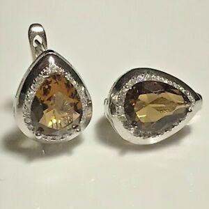 925 Sterling Silver Smokey Quartz Earrings