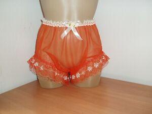 Sissy Sheer Nylon Full Briefs Panties Knickers with Ruffle Legs Orange