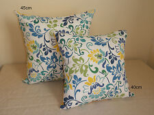 Outdoor Blue Yellow White Fresh Flower Cushion Covers 2 sizes Au Made