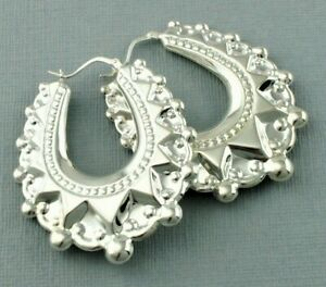 Large 925 Silver Victorian Style Spiked Oval Creole Earrings