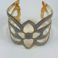 Silver Gold Plated Hollow Bangle Cuff Wristband Open Bracelet Adjustable