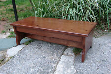 """Handcrafted Heavy Duty Step Stool 8.5"""" h, 27"""" L Wooden Bed Bedside, Eng Chestnut"""