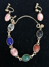Vintage Scarab Bracelet With Earrings 12k Gold Filled