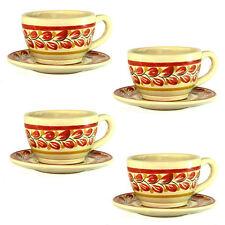 Cup and Saucer Set, Majolica Ceramic Handmade Mexico, Set of 4